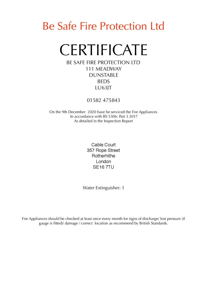 Cable Court Fire Inspection certificate